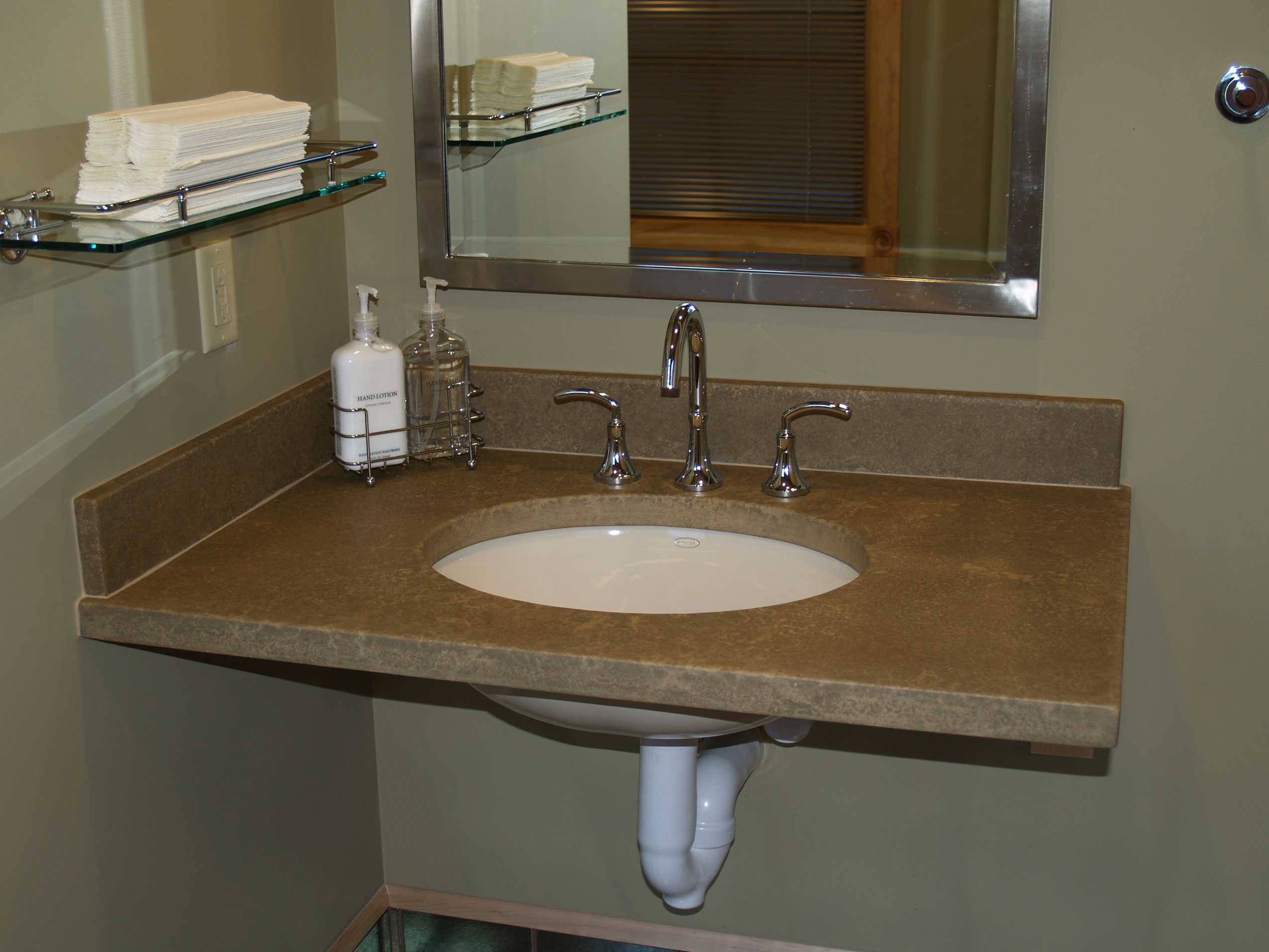 single faucet custom concrete residential bathroom sink