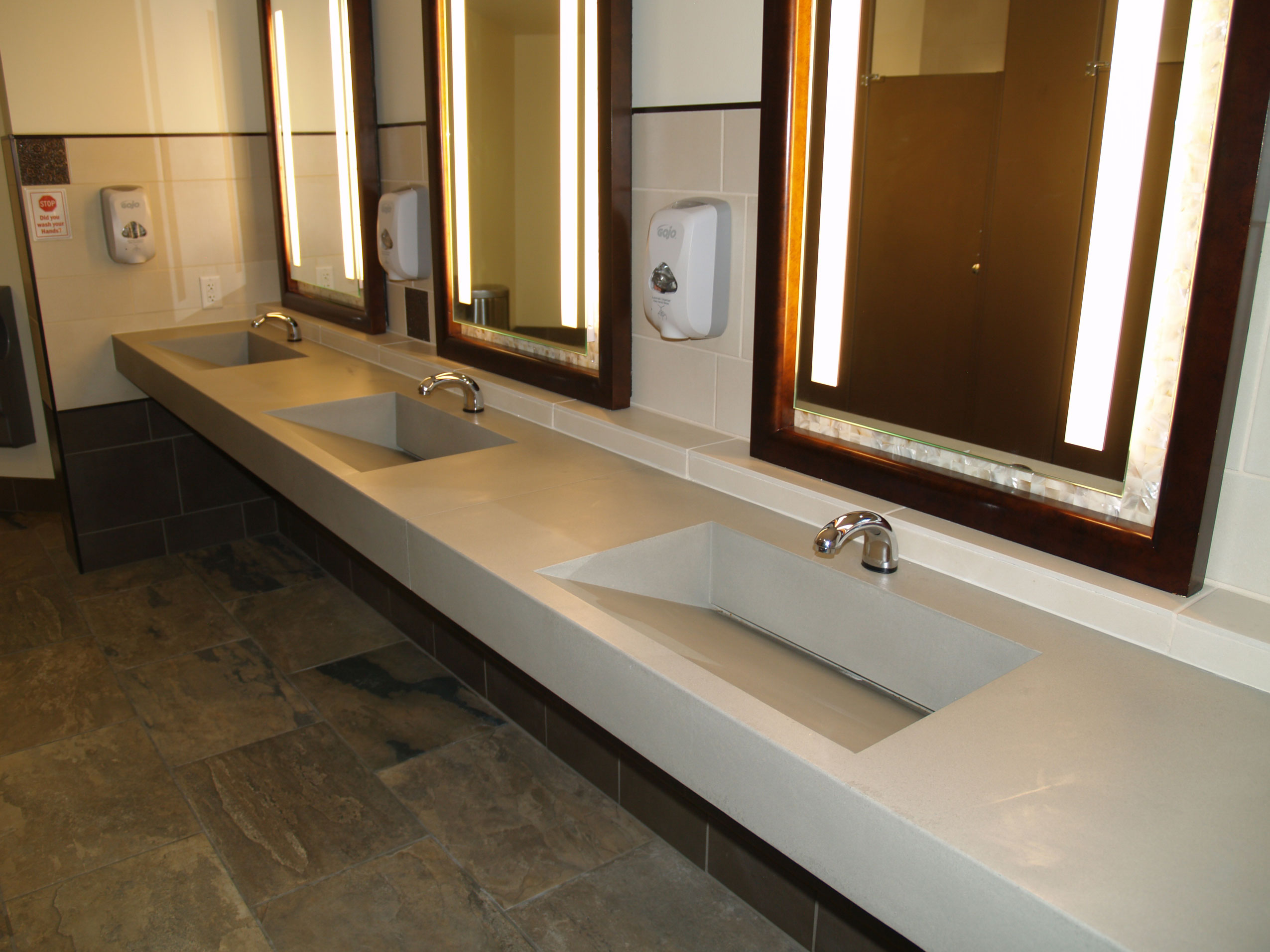 three well custom concrete sink for commercial business