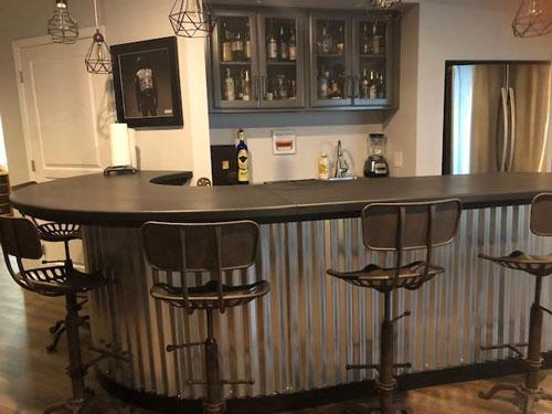 custom concrete wrap around residential bar top